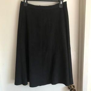 Vince Camuto Black Faux Velvet Midi Skirt
